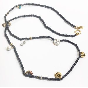 Juicy Couture Black Beaded Charm Necklace